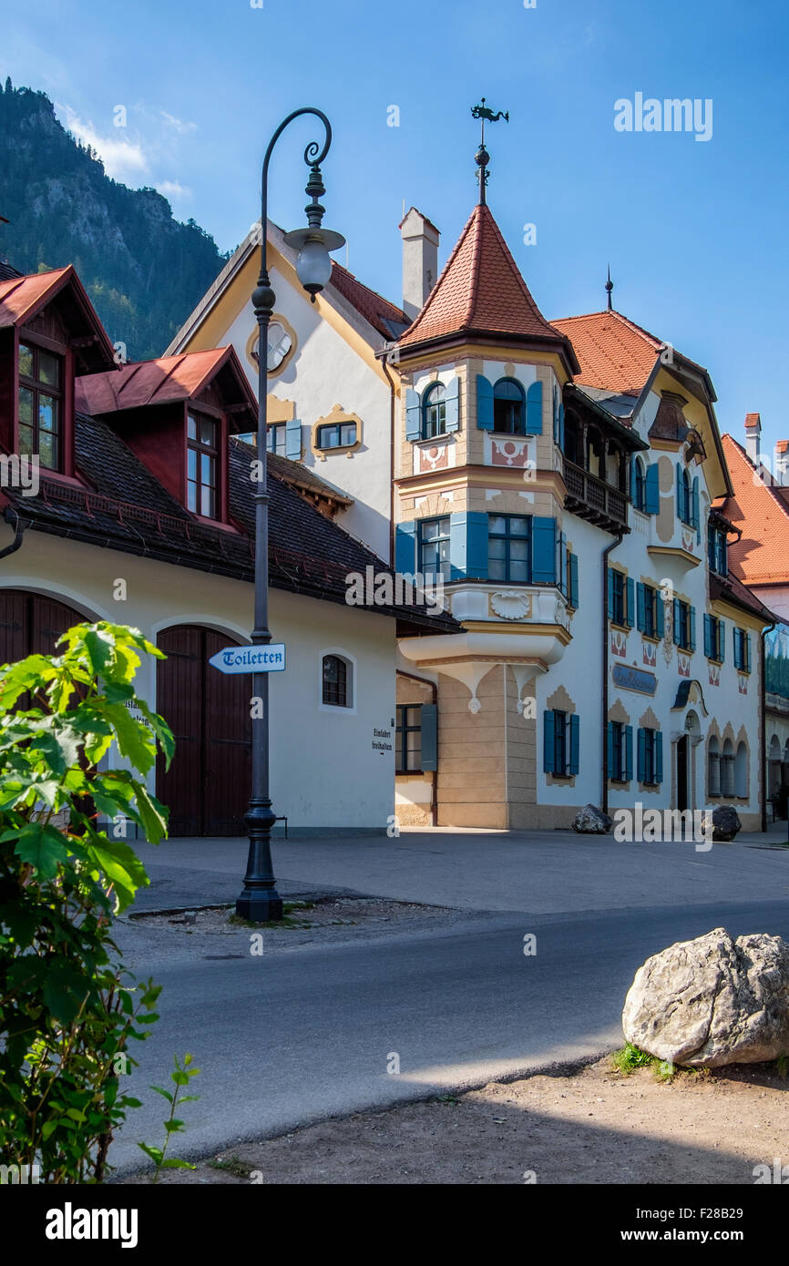 Zur Alpenrose, Typical Bavarian architecture in Hohenschwangaü Village street, Schwangau, Bavaria, Germany - Stock Image