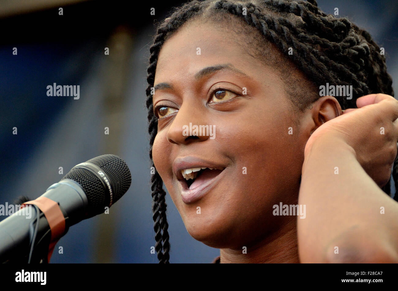 Ava Vidal British Comedian Speaking At The Refugees Welcome Here Rally In Parliament Square London 12th Sept 2015