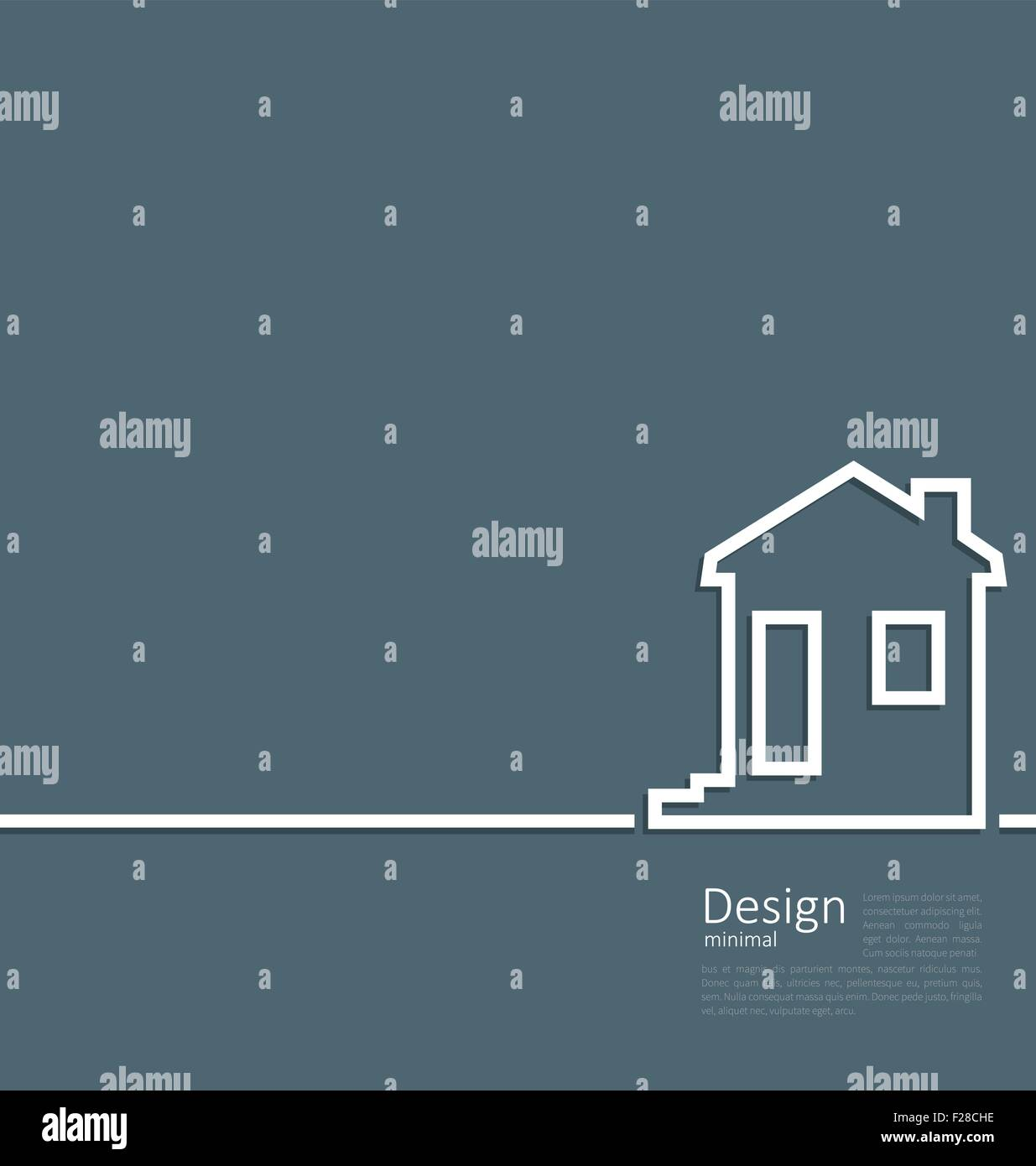 Web template house logo in minimal flat style cleaness line - Stock Vector