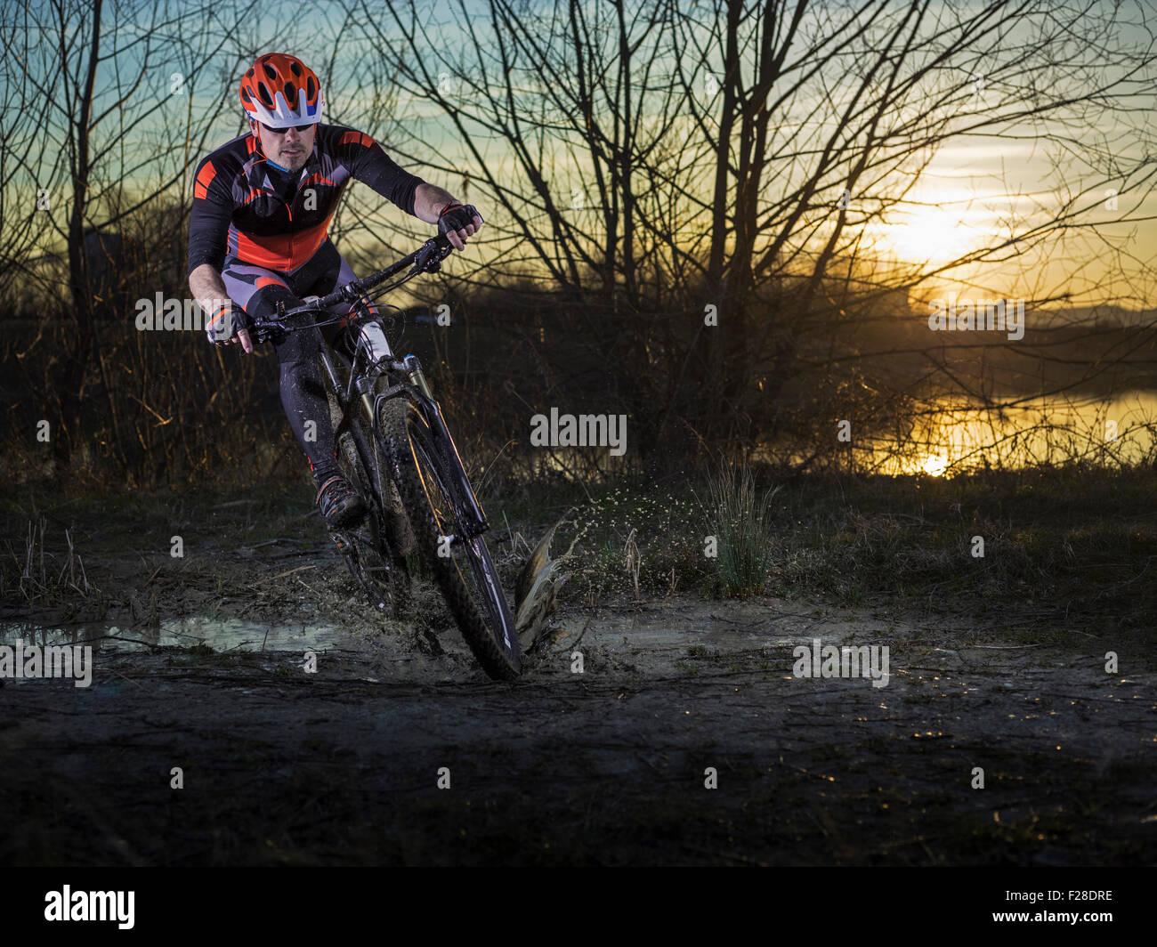 Mature man riding mountain bike on dirt track, Bavaria, Germany Stock Photo