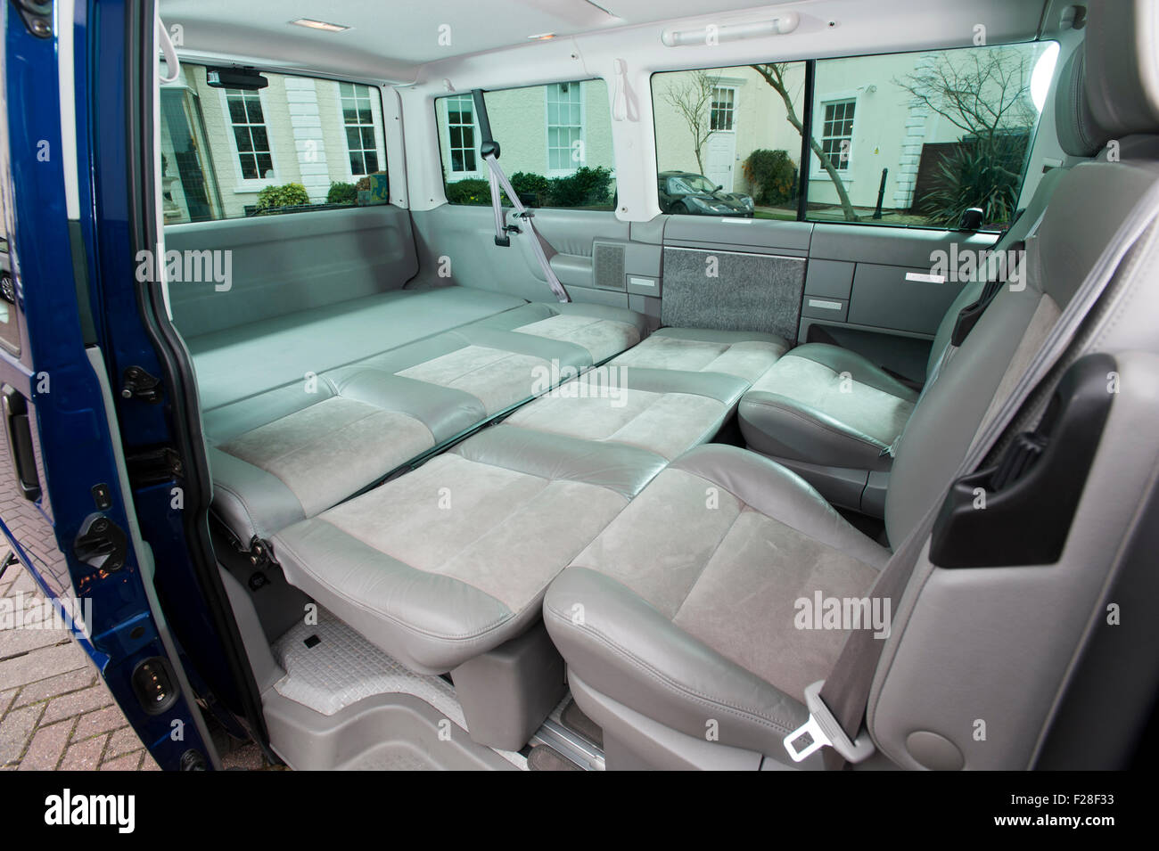 2001 Volkswagen T4 Camper Van Interior Rear Seats Folded Down Into Large Bed
