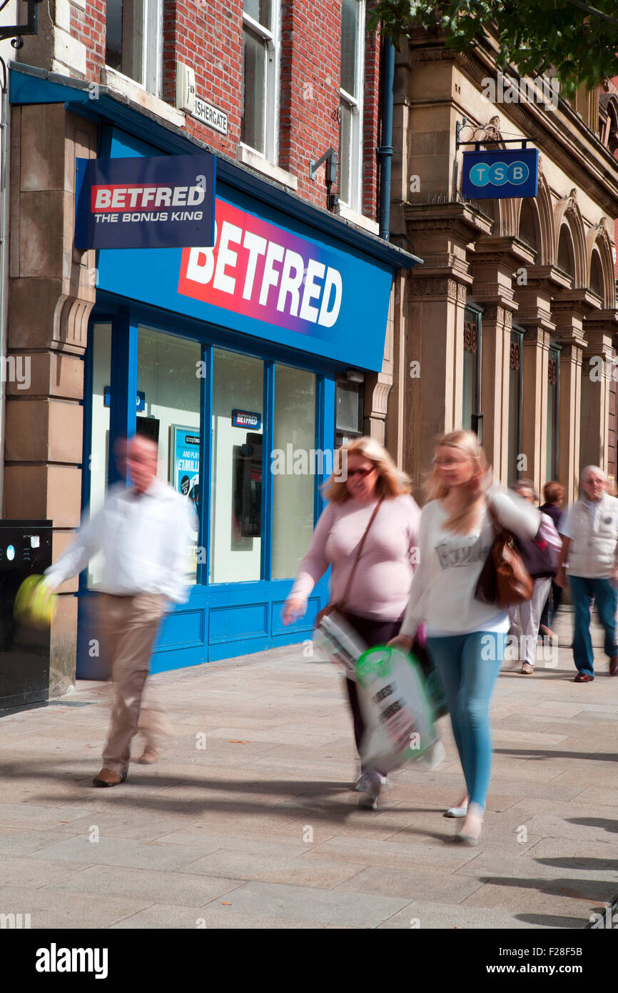BetFred & TSB Fishergate, Preston City Centre, Lancashire, UK _ Shoppers, Shops, Shopping in the Main Street - Stock Image