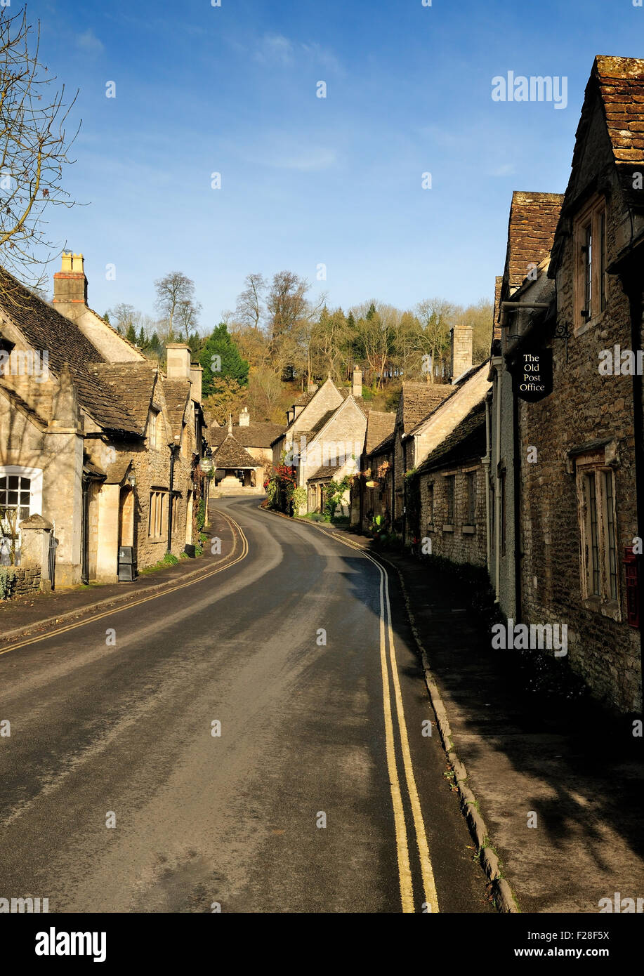 The village street in Castle Combe. - Stock Image