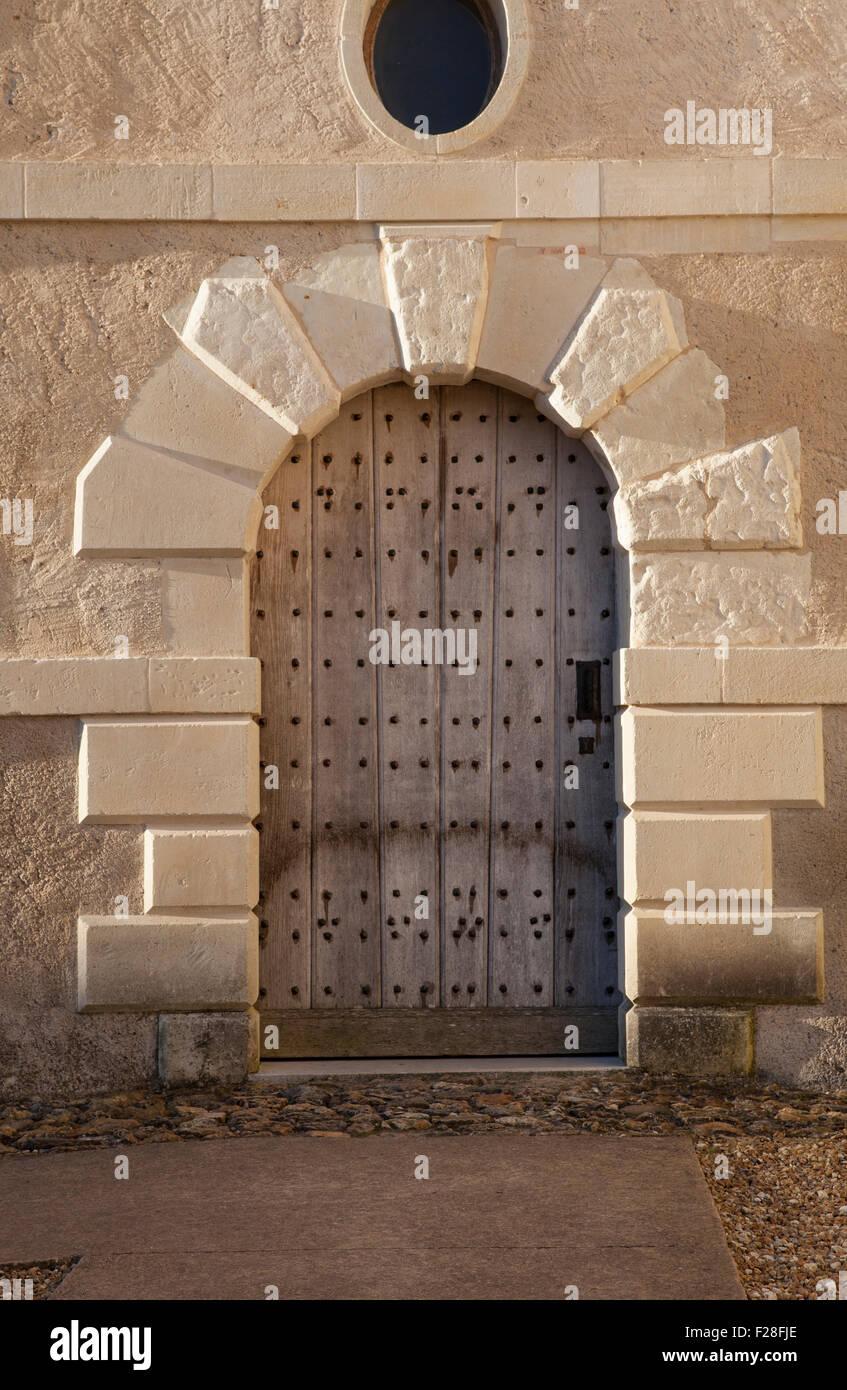 Chateau du Rivau, door to the Ecuries Royales Stock Photo