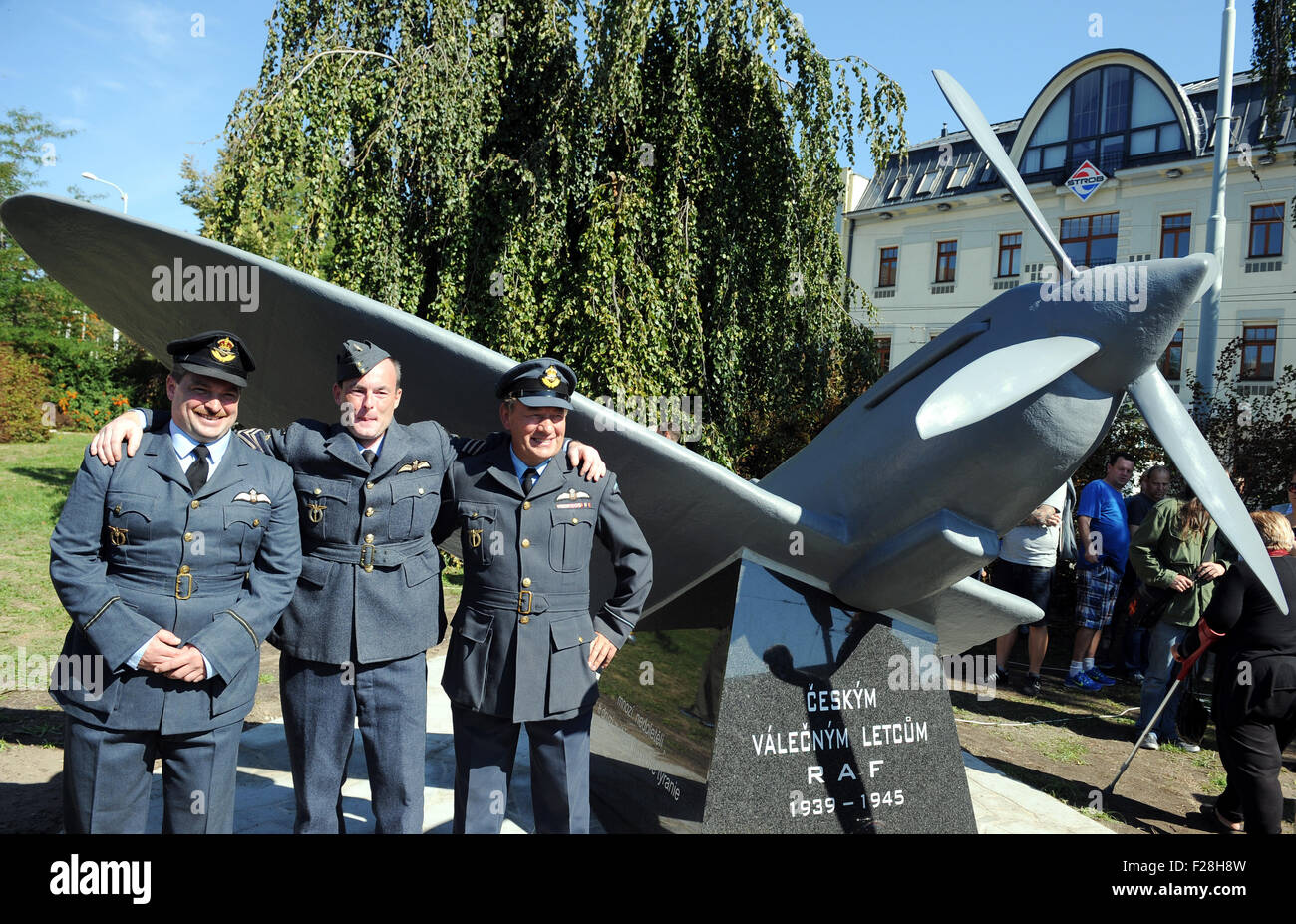 Ceske Budejovice, Czech Republic. 12th Sep, 2015. Members of Czech club of aviation history pose for photo during - Stock Image