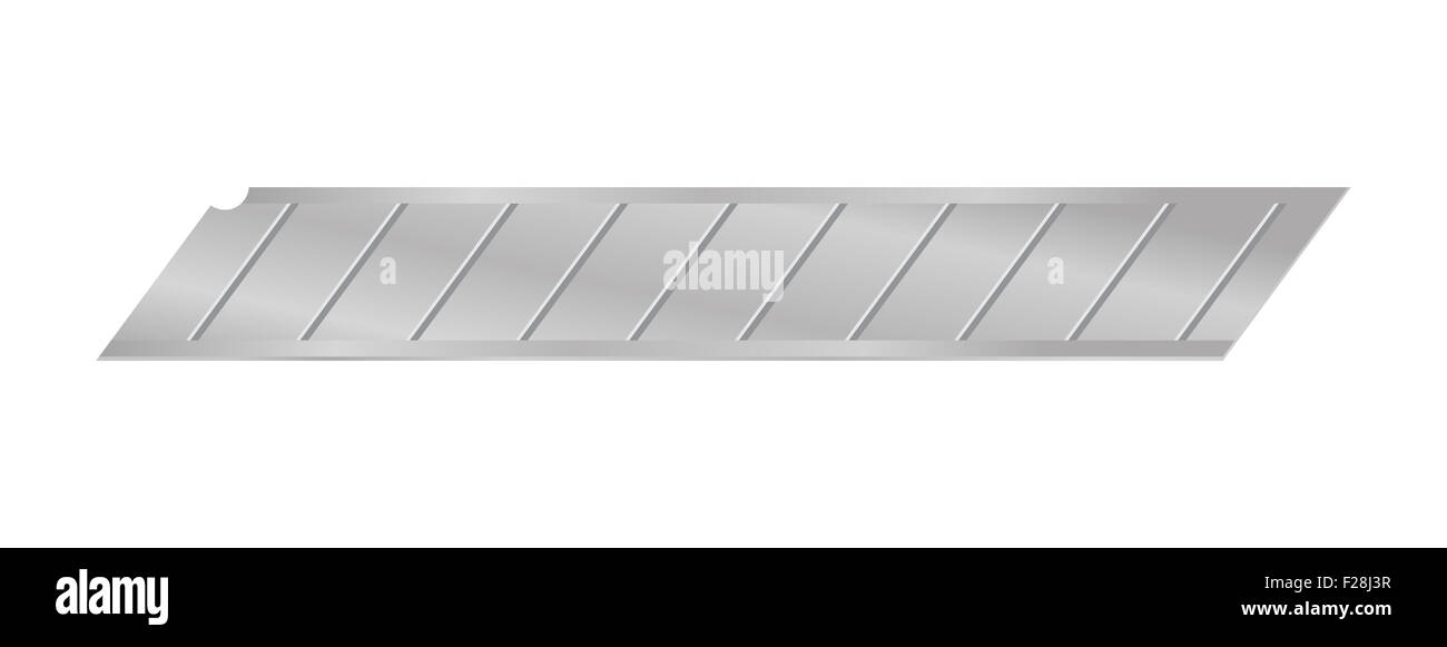 Vector illustration of replaceable cutting edge for box cutter knife isolated on white background - Stock Image