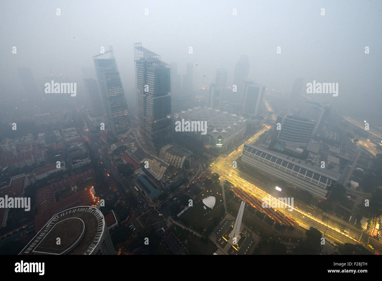 Singapore. 14th Sep, 2015. Haze looms over the Civic District in Singapore, Sept. 14, 2015. Singapore's haze - Stock Image