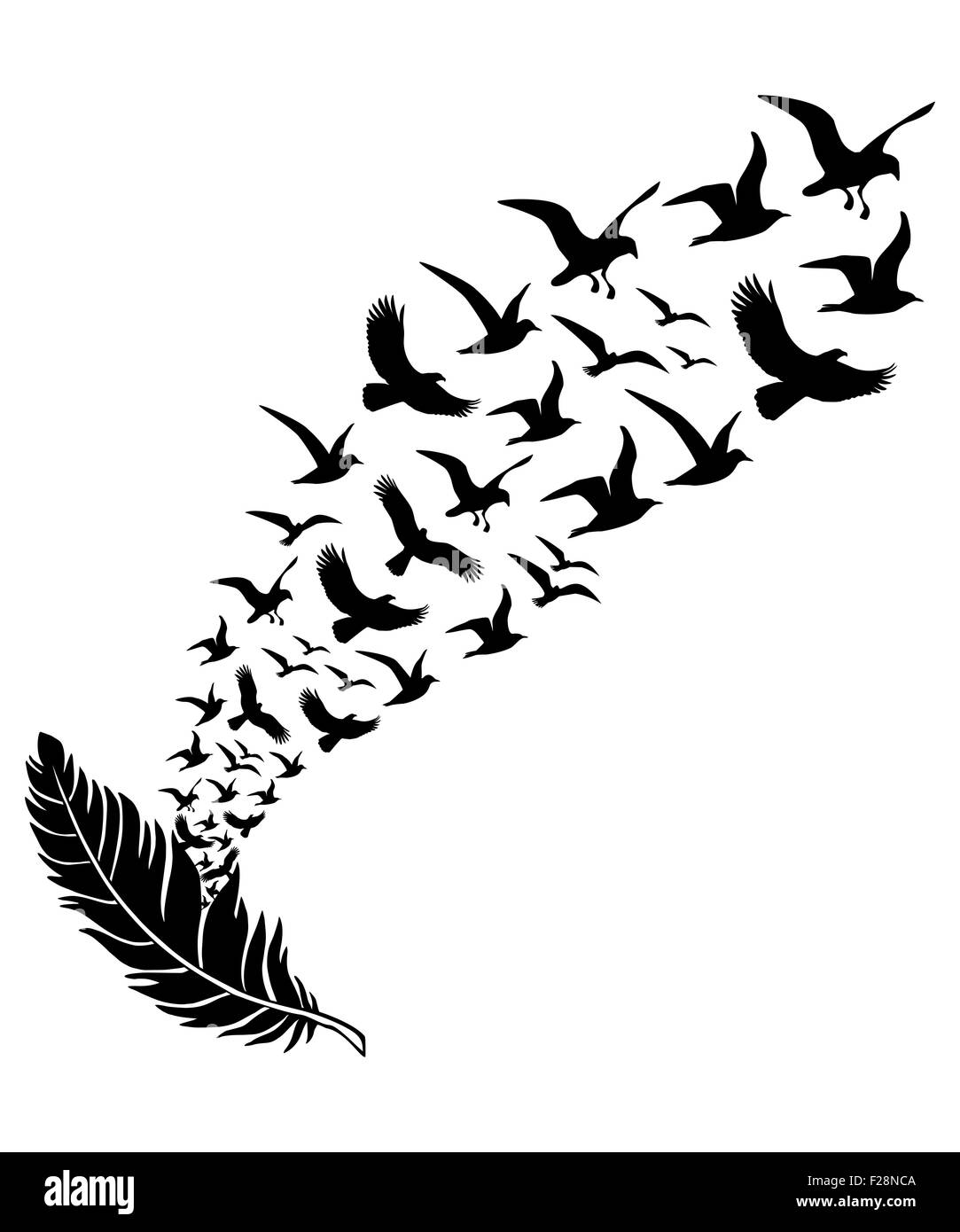 feathers with flying birds  vector illustration stock heart shape vector free black and white heart shaped vector free