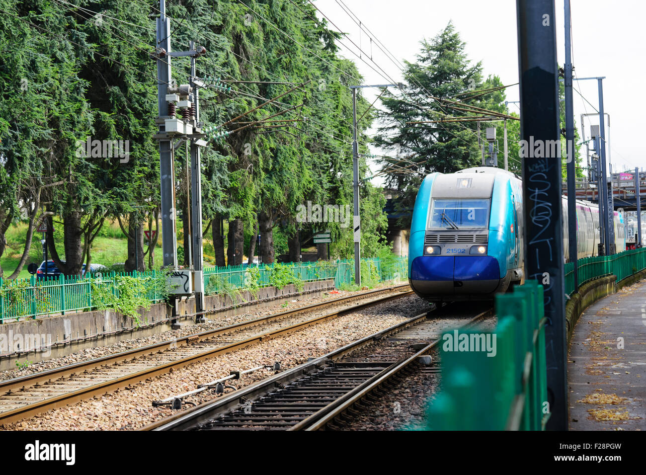 trams and tramlines in nantes france Stock Photo