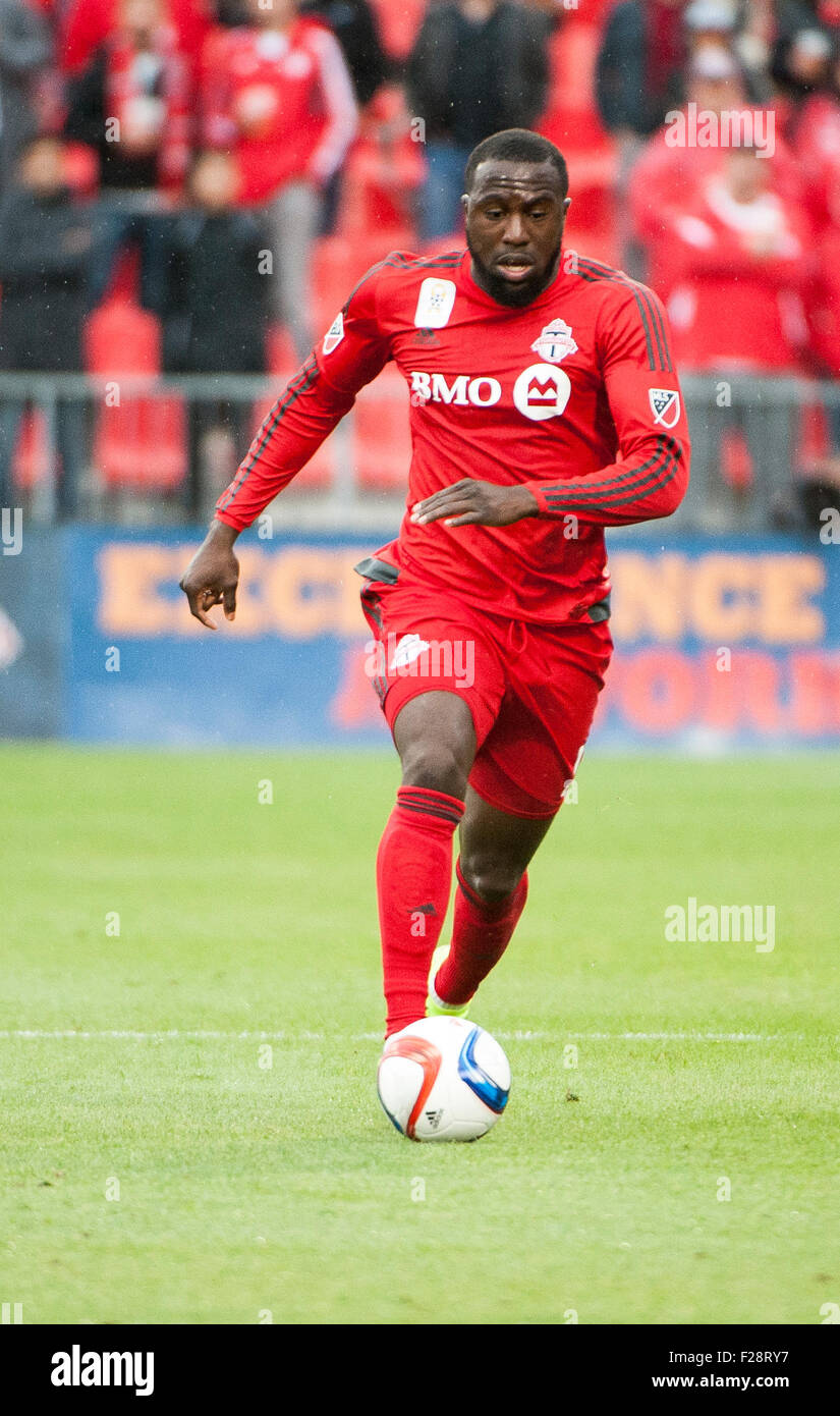 Toronto, Ontario, Canada. 13th September, 2015. Toronto FC forward Jozy Altidore (17)dribbles the ball upfield against - Stock Image