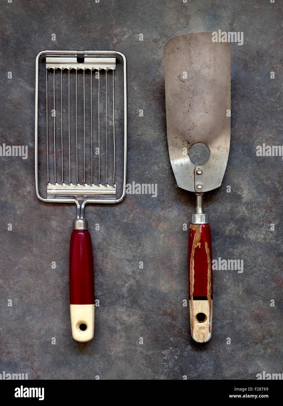 Vintage Kitchen Gadgets - Slicer and Spatula Stock Photo ...