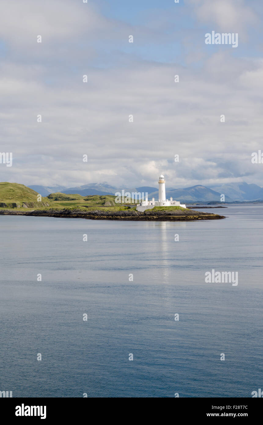Lismore lighthouse, Eilean Musdile, view from the ferry, Inner Hebrides, Scotland, U.K. - Stock Image