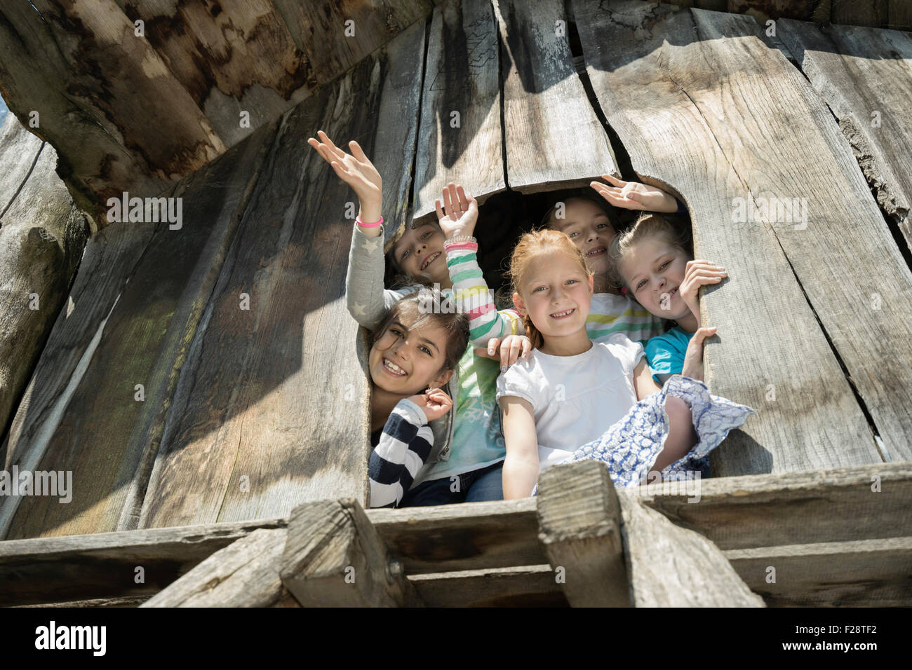 Girls playing on tree house in playground, Munich, Bavaria, Germany - Stock Image