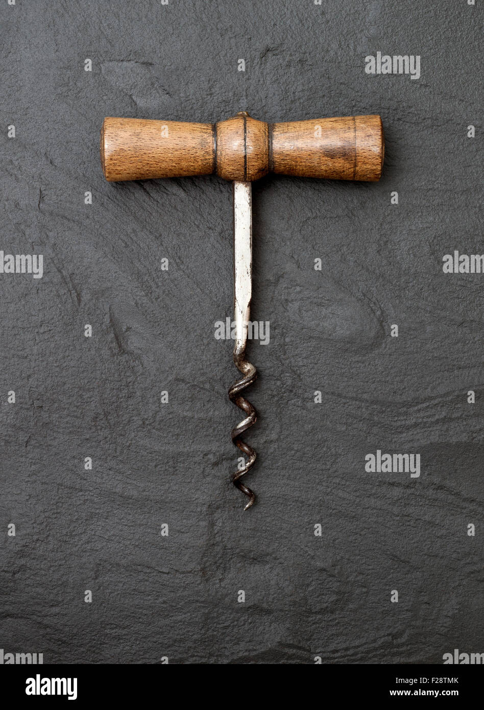 Vintage Corkscrew with Wooden Handle - Stock Image