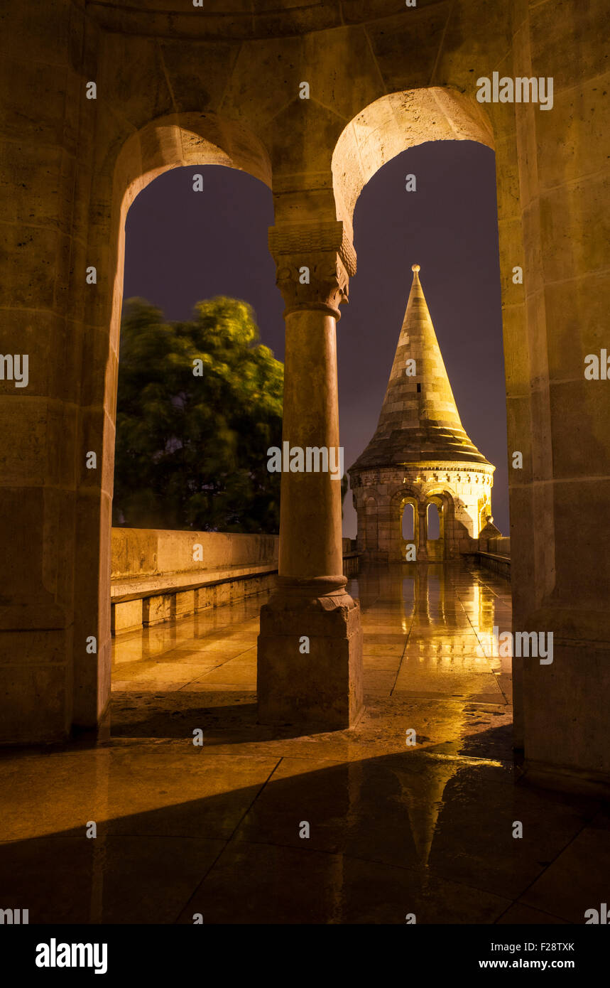 A view from inside one of the towers in the Fisherman's Bastion in Budapest, Hungary. - Stock Image