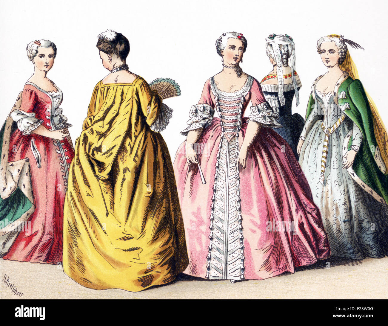 The figures illustrated here represent French ladies of rank—upper class women—between 1700 and 1750. The illustration - Stock Image