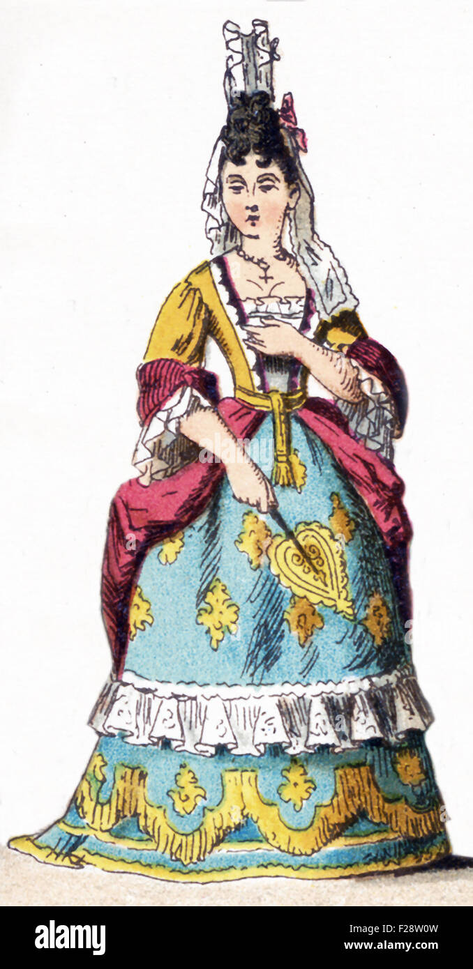 The figure illustrated here represents a French lady of rank—upper class woman—between 1700 and 1750. The illustration - Stock Image