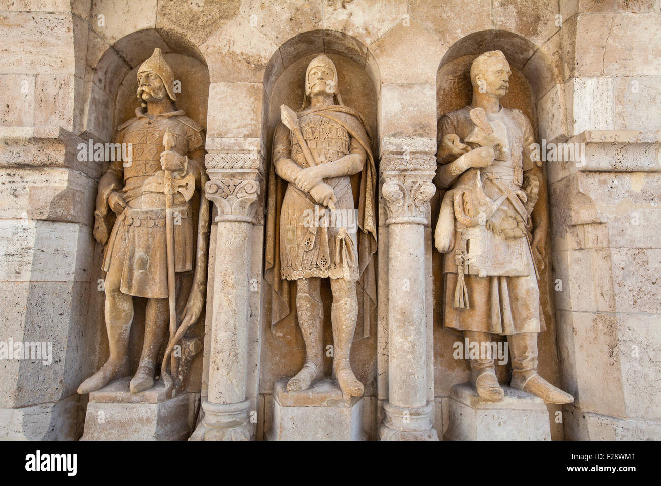 Beautiful sculptures at the Fisherman's Bastion in Budapest, Hungary. Stock Photo
