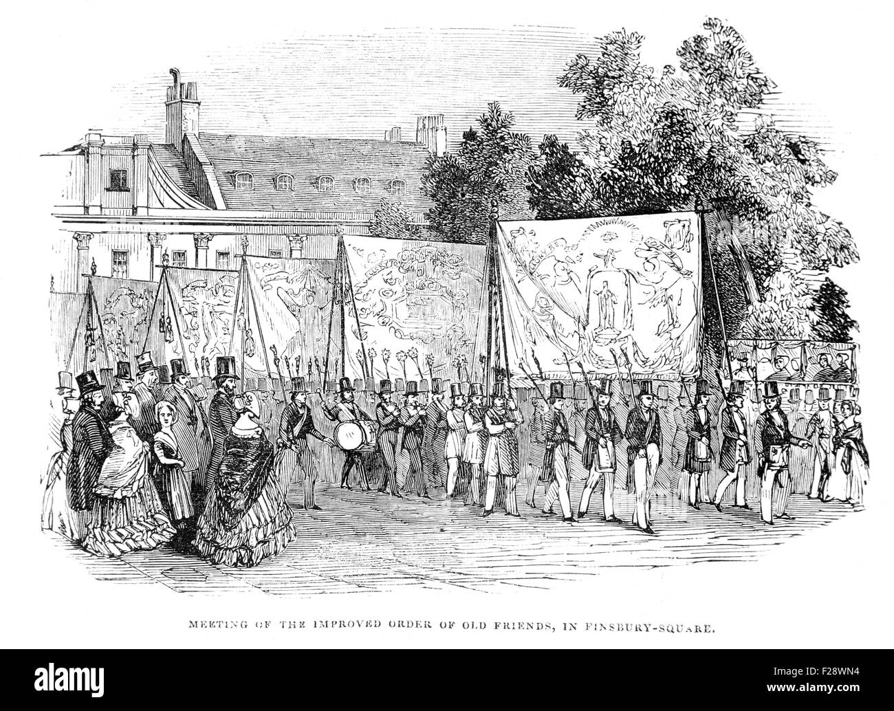 Meeting of the Improved Order of Old Friends in Finsbury Square, Illustrated London News July 1844; Black and White - Stock Image