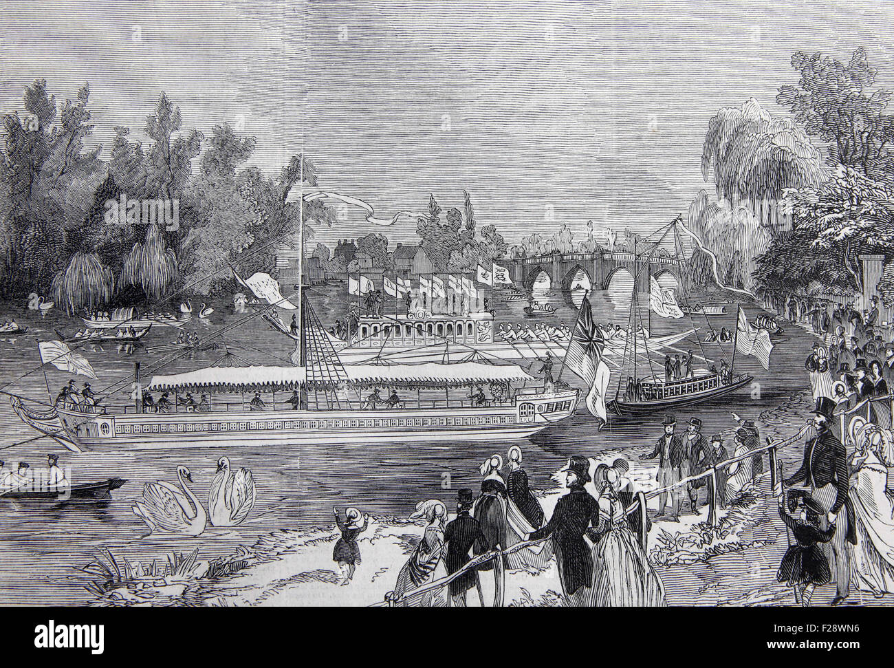 Swan-Upping on the River Thames, from Brentford Ait, Illustrated London News July 1844; Black and White Illustration; - Stock Image