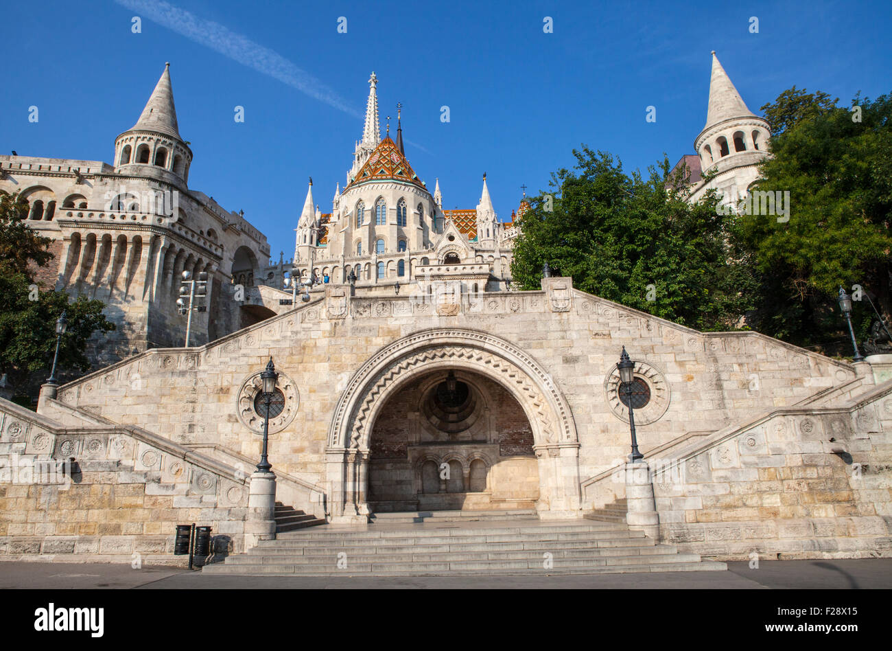 The historic Fisherman's Bastion in Budapest, Hungary. Stock Photo