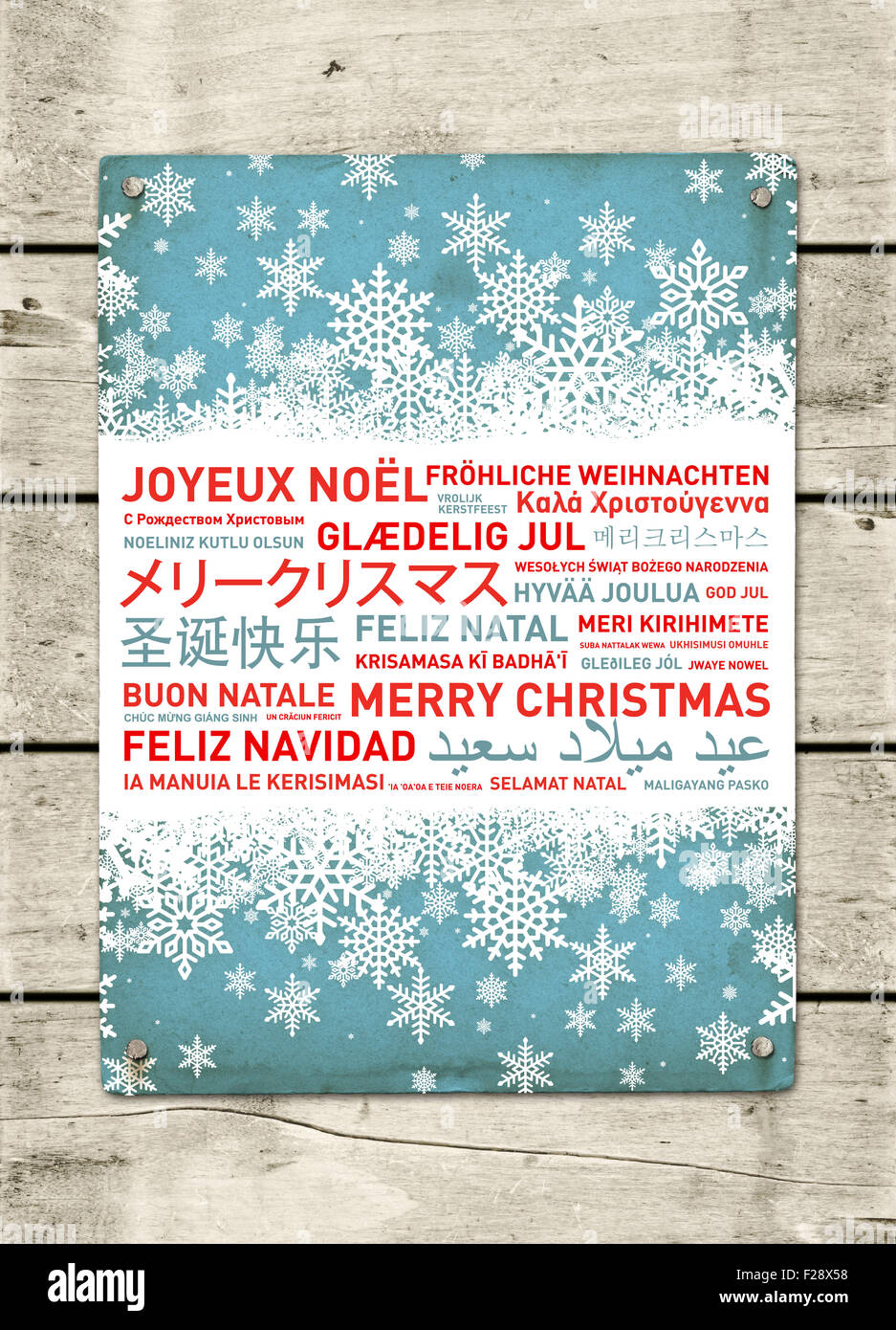 merry christmas from the world different languages celebration poster stock image