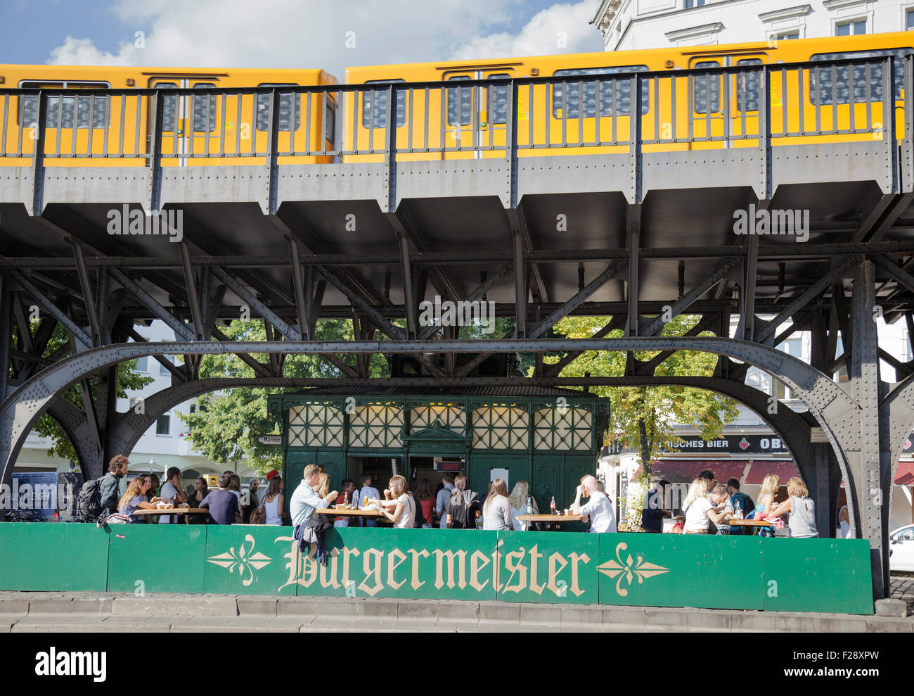 Burgermeister cafe / beer garden in a disused toilet under the U-Bahn line, Berlin, Germany - Stock Image