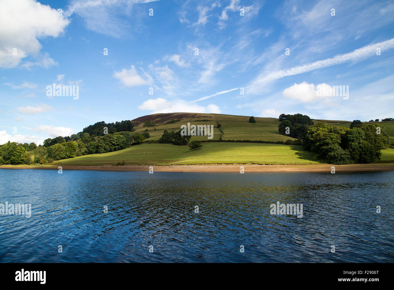 A view across a Ladybower Reservoir on a sunny summer's day. - Stock Image