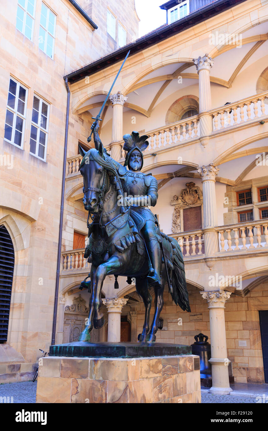 Monument to Count Eberhard 1, Duke of Wurttemberg in the Altes Schloss, Stuttgart, Germany - Stock Image