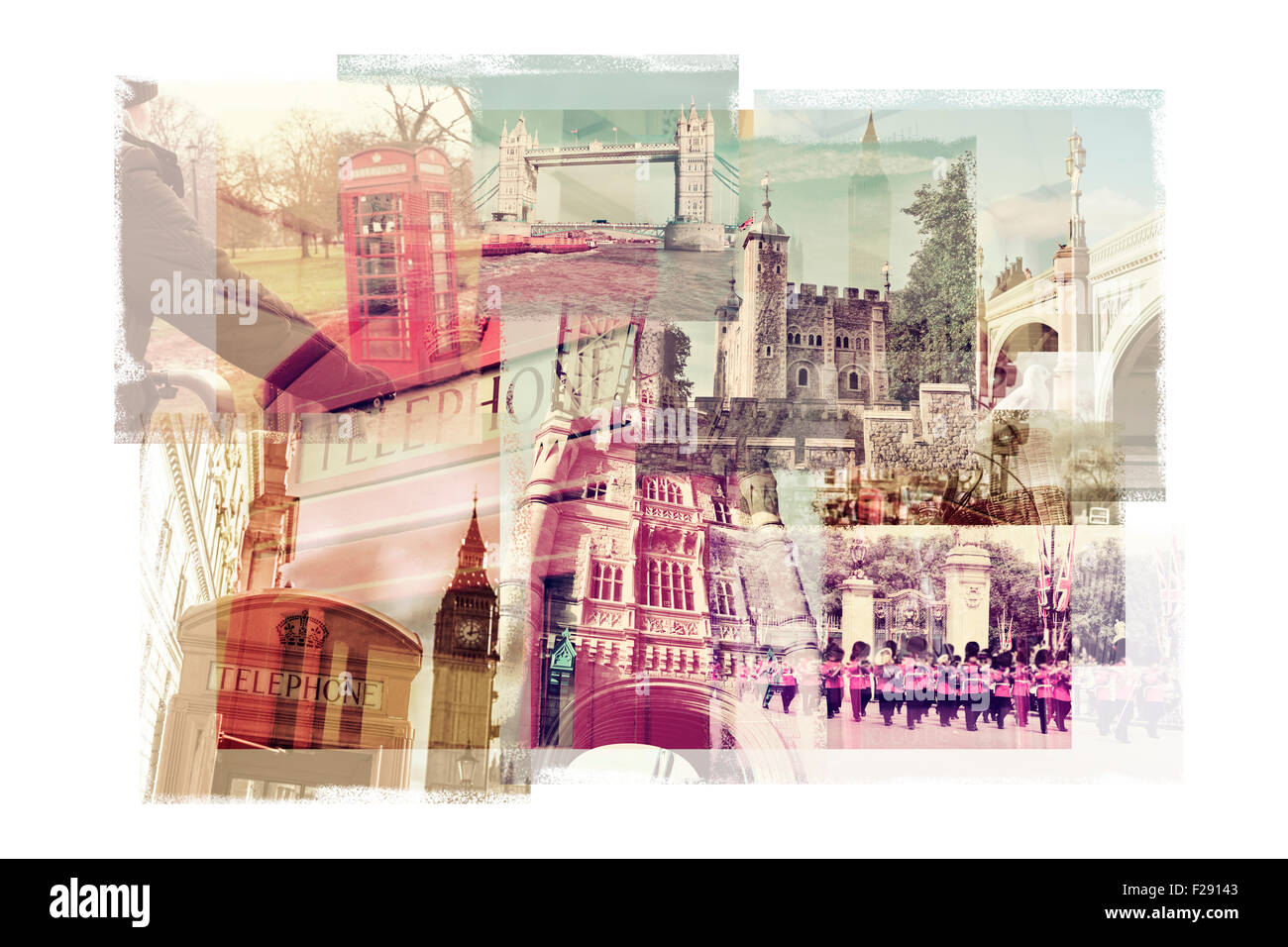 multiple exposures of different landmarks in London, United Kingdom, such as  the Big Ben, the Tower Bridge, the - Stock Image