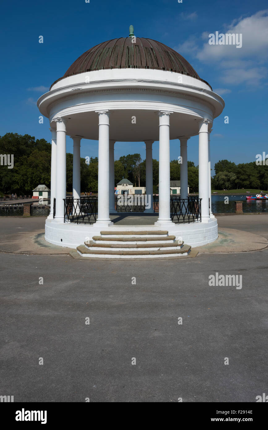 Bandstand alongside the lake in Stanley Park, Blackpool, Lancashire - Stock Image