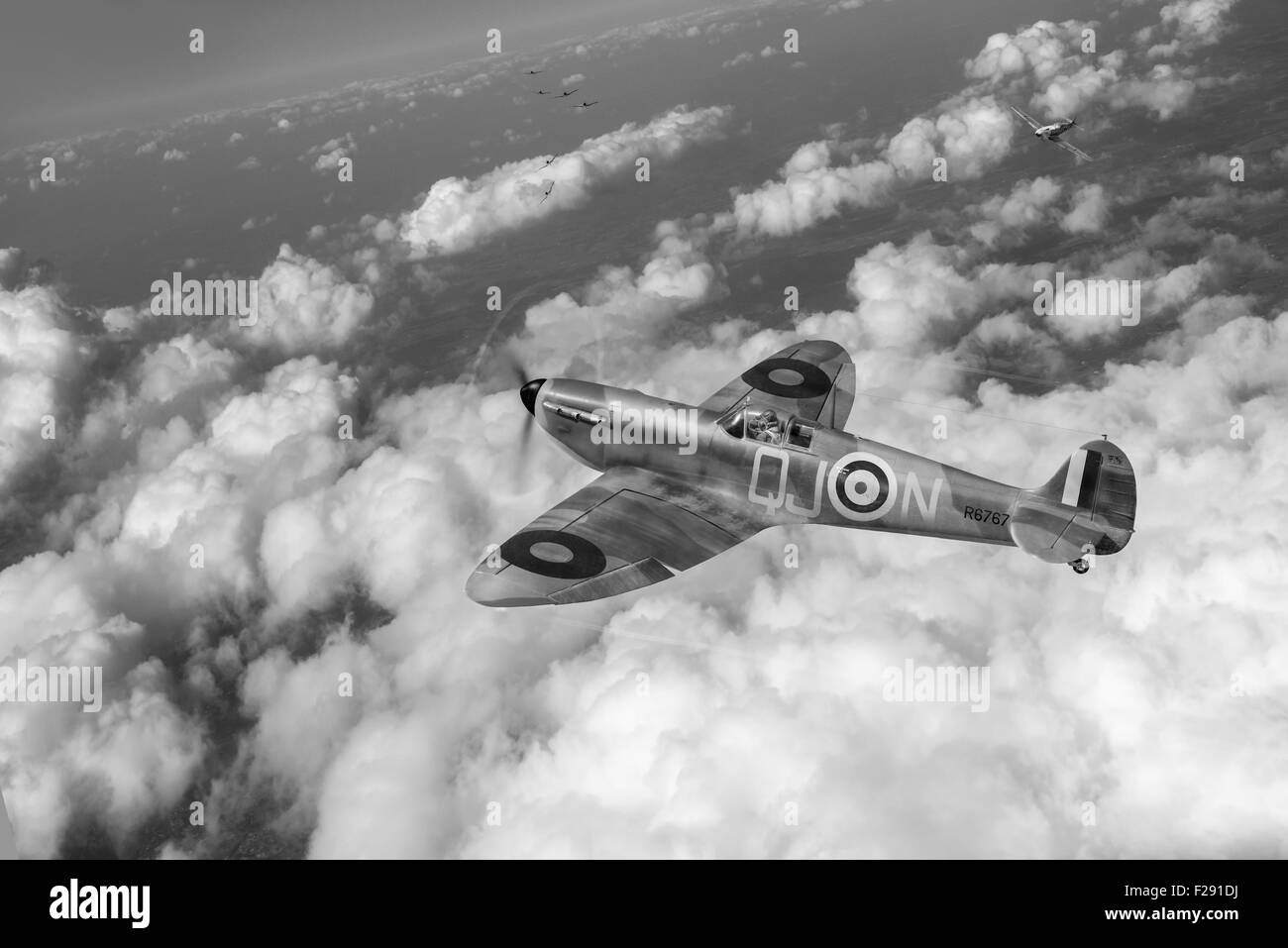 RAF pilot Charles Sydney of 92 Squadron in his Mk I Spitfire R6767 coded QJ-N in action against Luftwaffe Messerschmitt - Stock Image