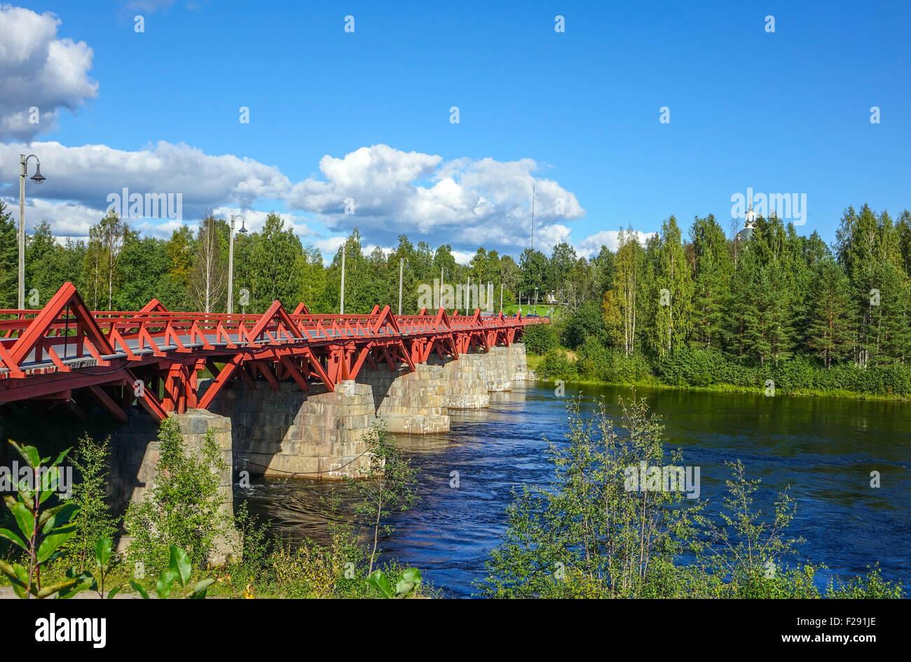 Oldest wooden bridge in Sweden, Lejonstromsbron, Skelleftea, Swedish Lapland - Stock Image