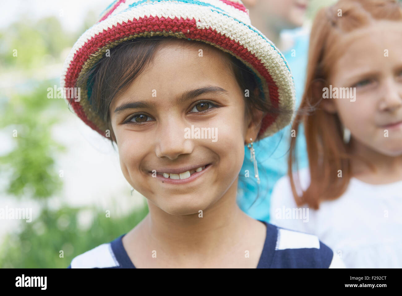 Portrait of a girl smiling, Bavaria, Germany - Stock Image