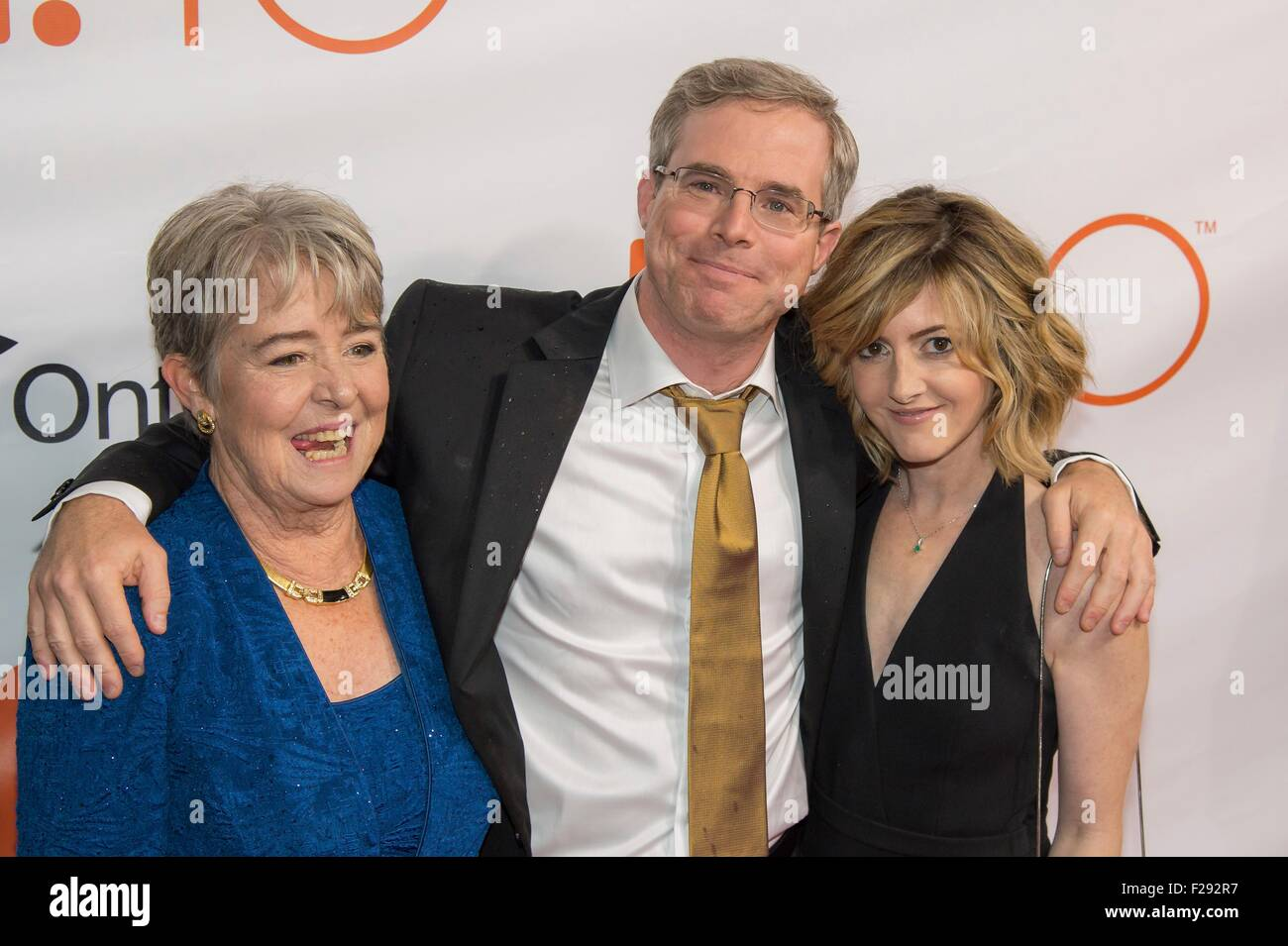 Author Andy Weir, Weir's mother Janet Tuer and Weir's girlfriend Keri Kukral attend the world premiere for - Stock Image
