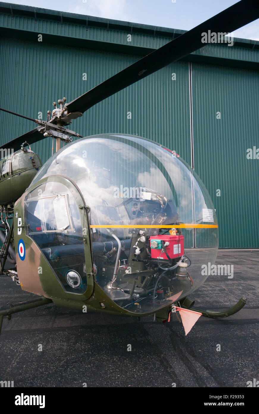 Front View Of A british Army Agusta Bell Sioux AH Mk1 Helicopter Stock Photo