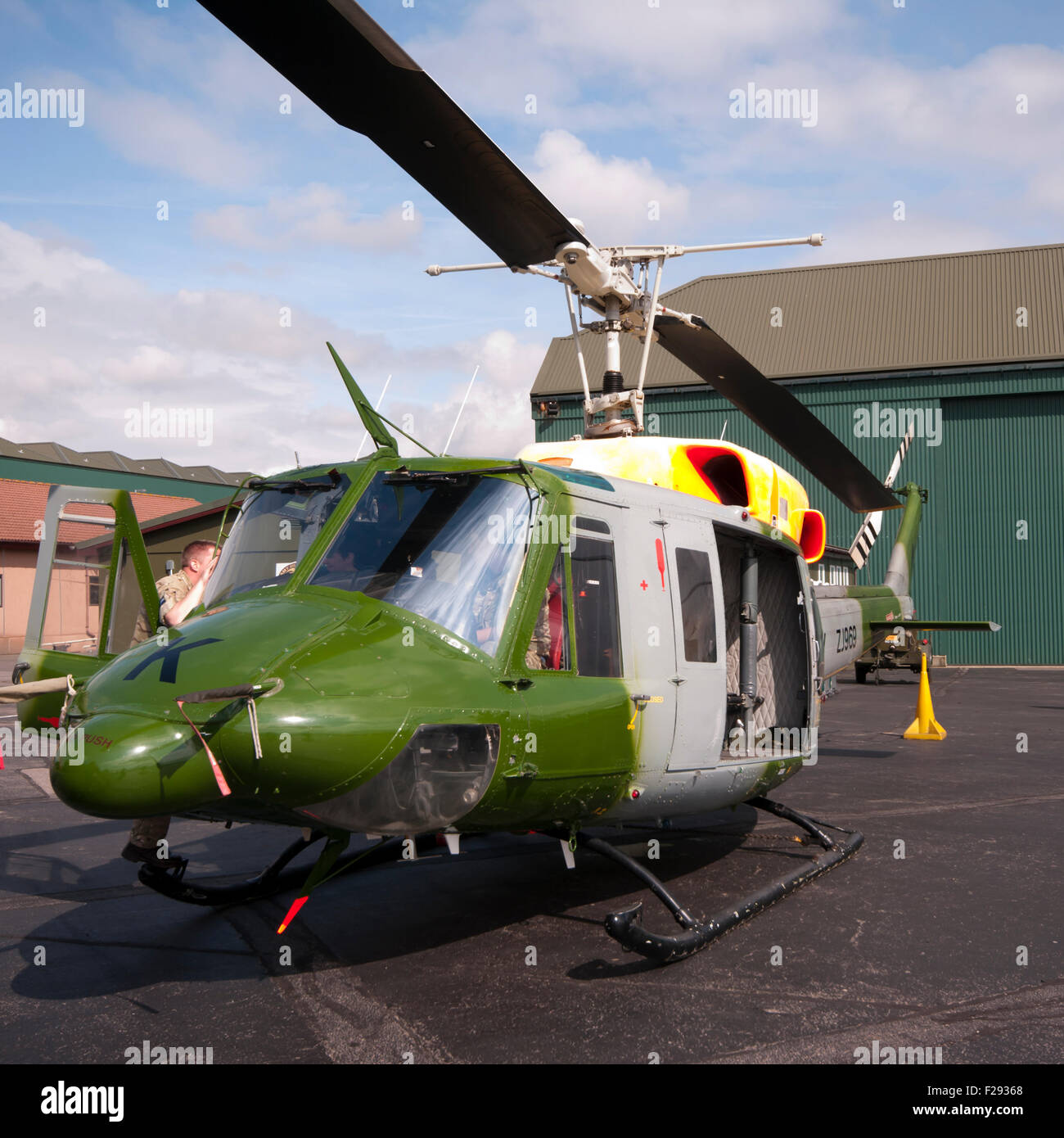 Front View Of A British Army Bell 212 AH.1 Helicopter - Stock Image