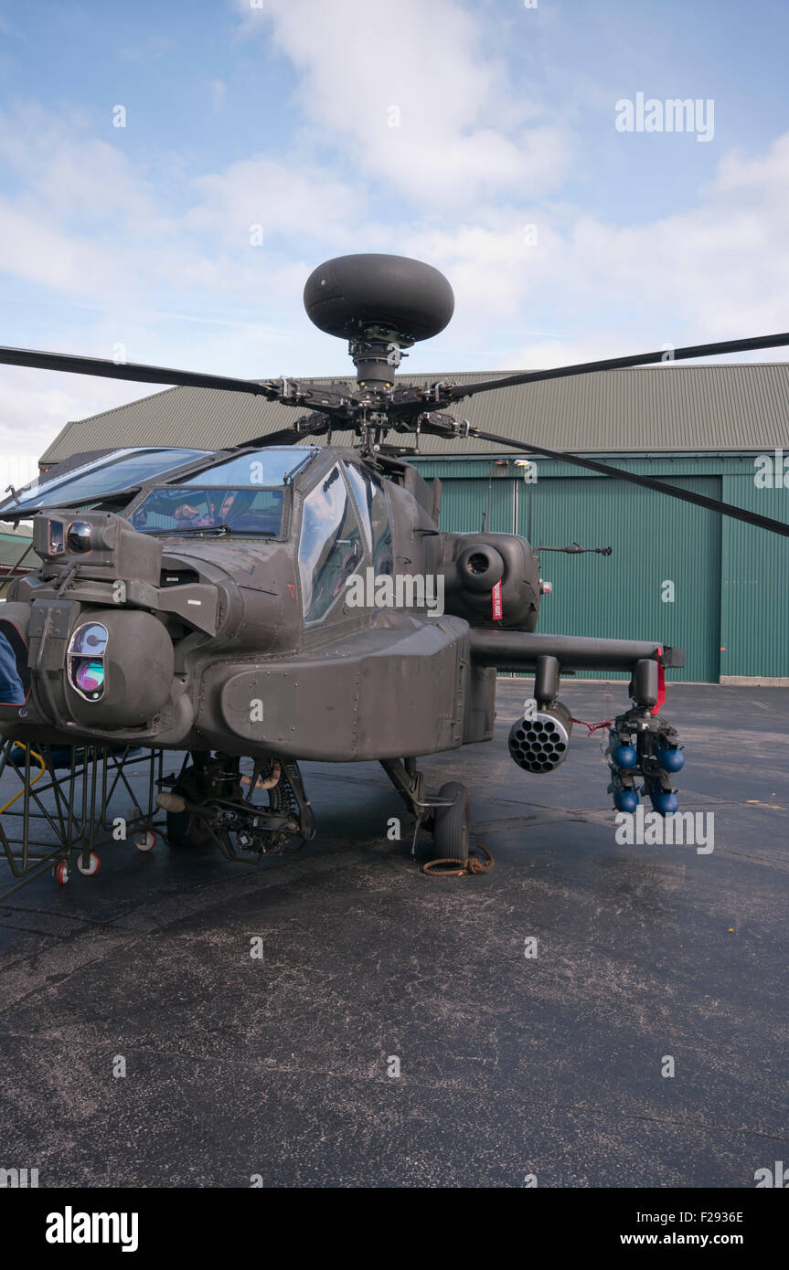 Front view Of A British Army Boeing AH-64 Apache Helicopter - Stock Image
