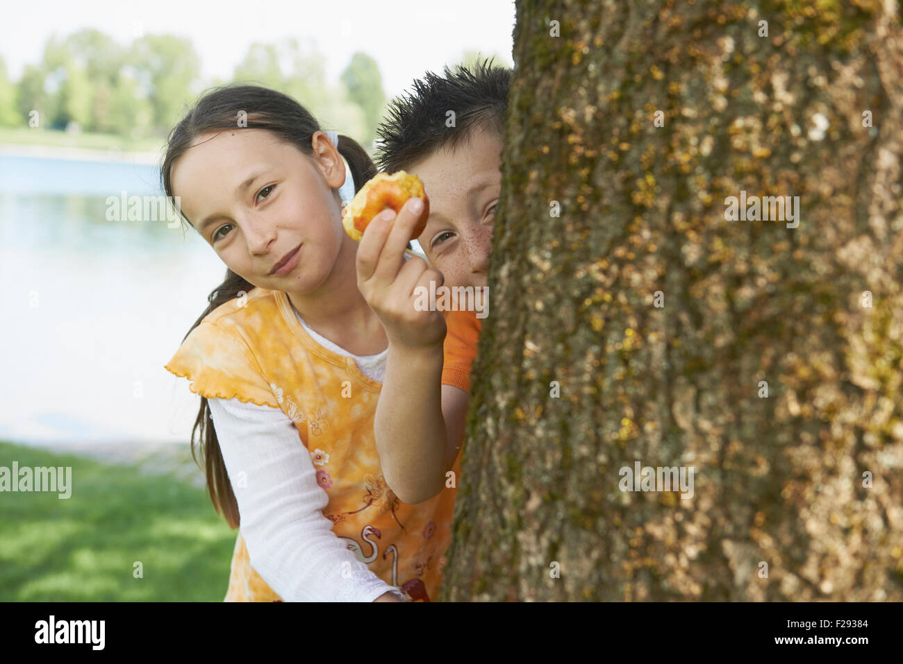 Girl peeking from behind a tree with her brother showing half eaten apple, Bavaria, Germany - Stock Image