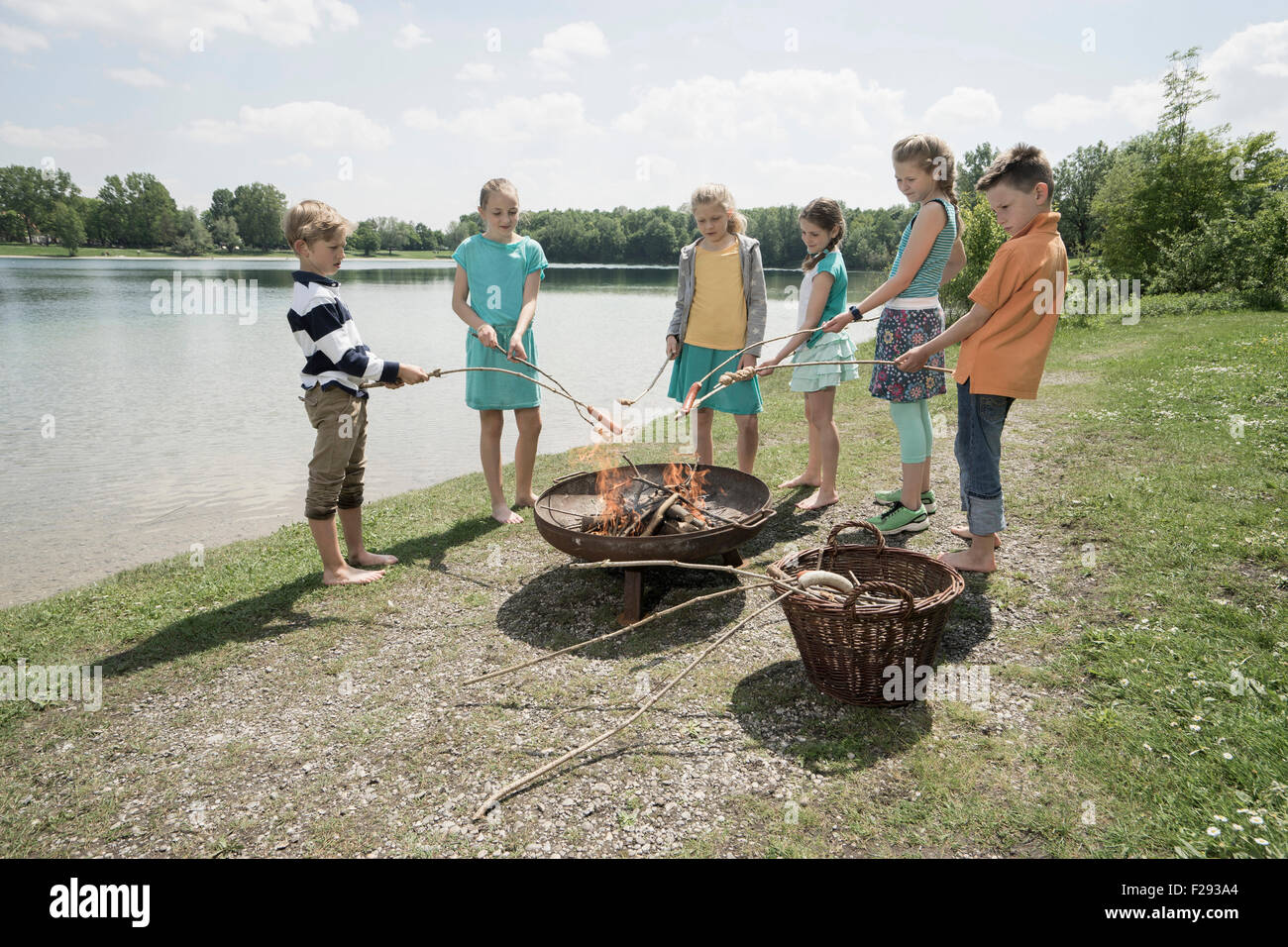 Group of friends preparing sausages on campfire, Bavaria, Germany - Stock Image