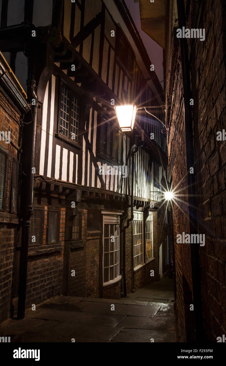 A view down Lady Pecketts Yard in York - one of the city's many historic snickelways. - Stock Image