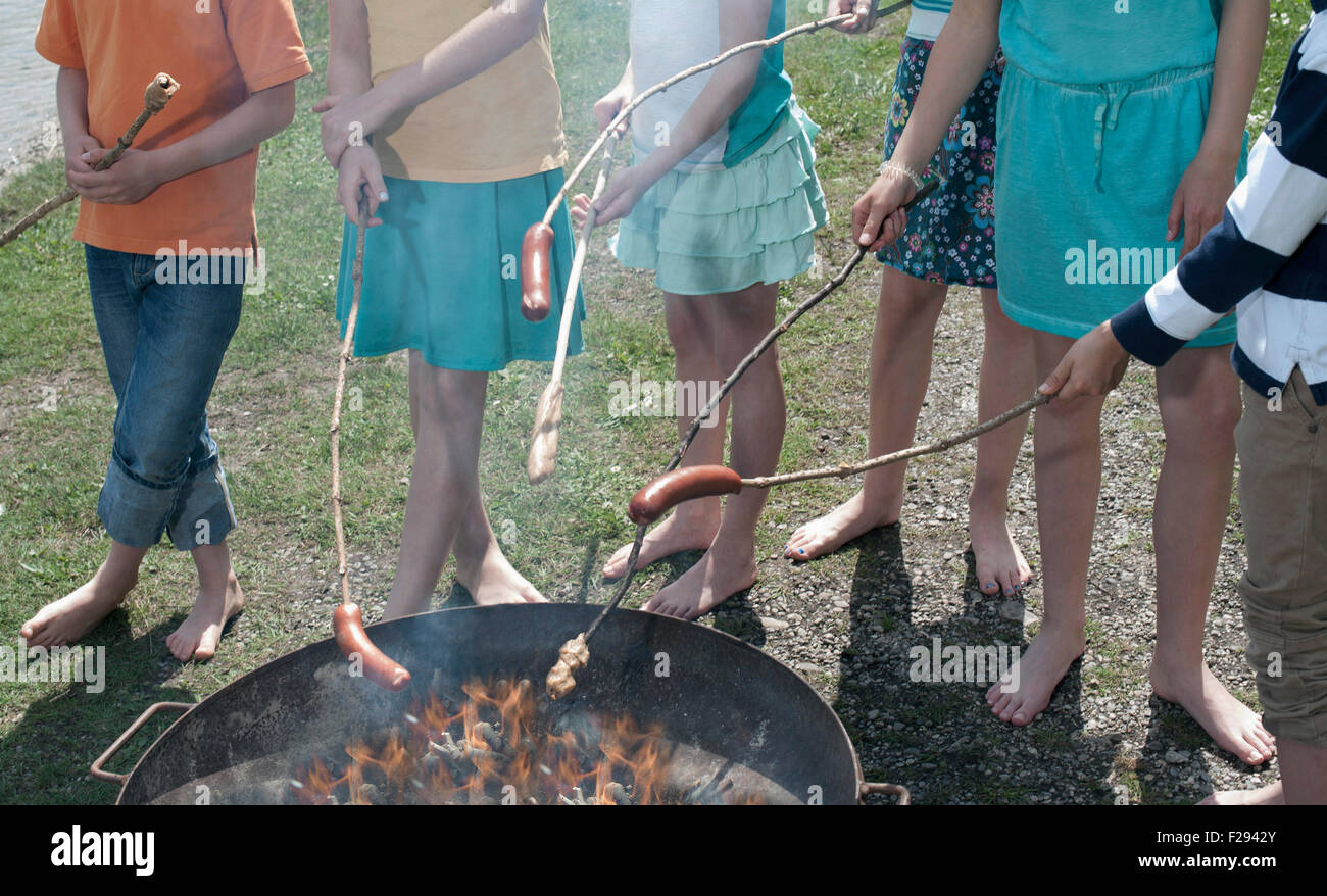 Group of friends preparing sausages on campfire, Bavaria, Germany Stock Photo
