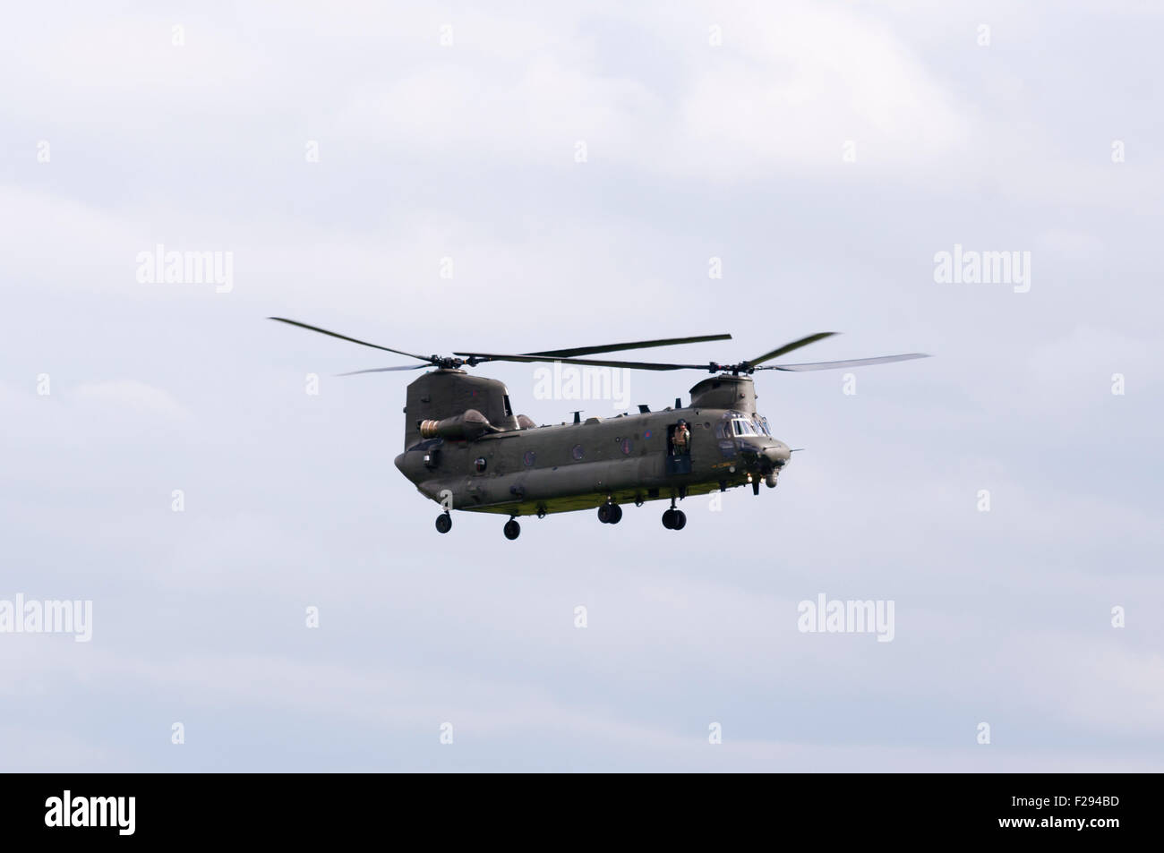 Side View Of A British Army Chinook Helicopter In Flight - Stock Image