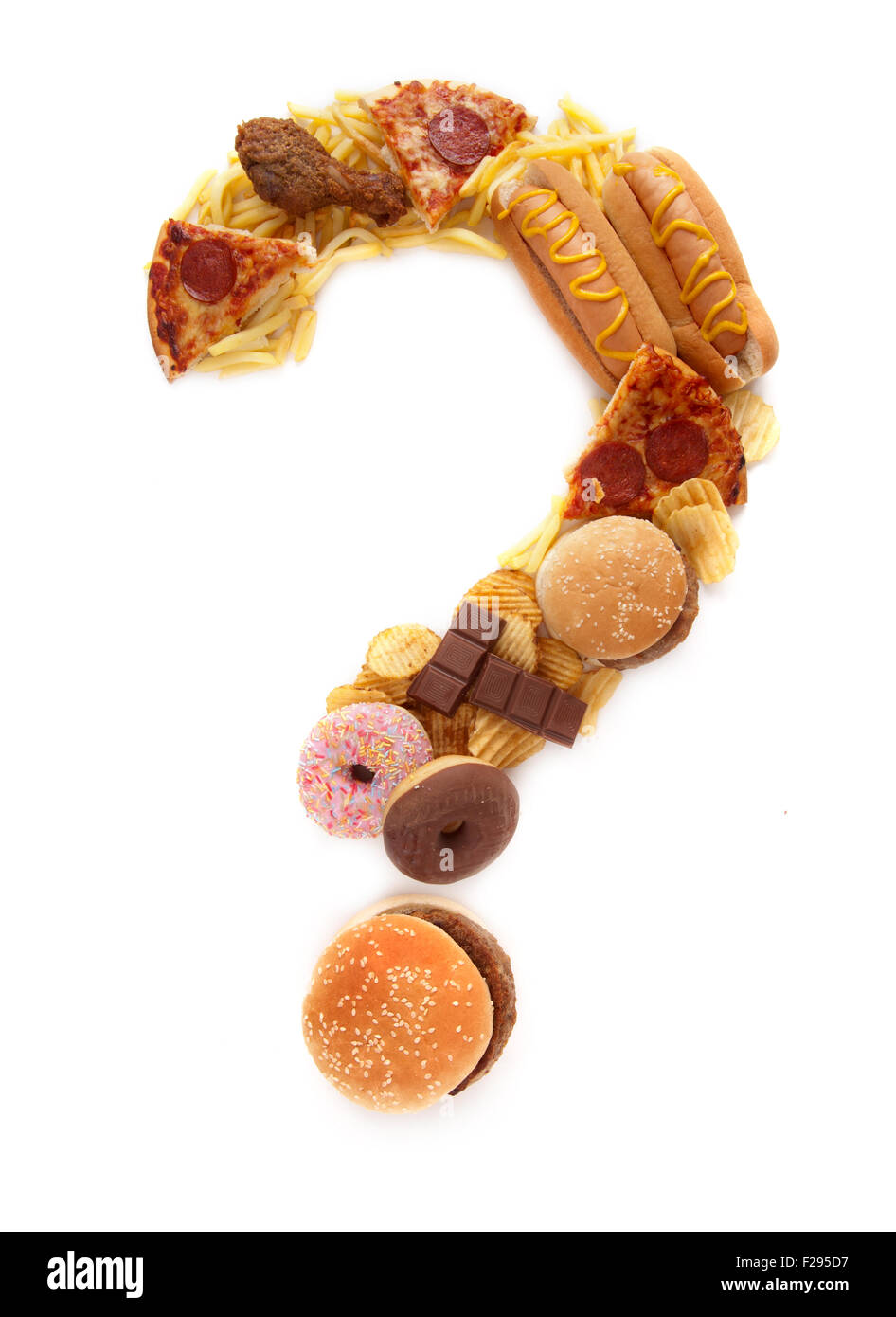 Junk food question mark - Stock Image