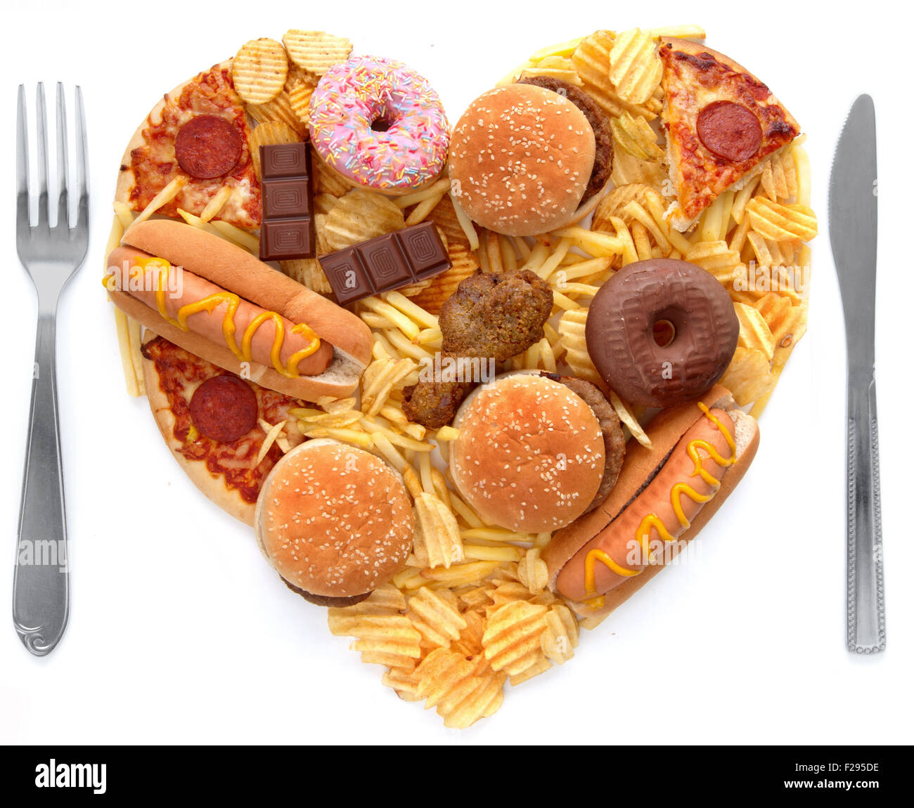 Junk food meal - Stock Image