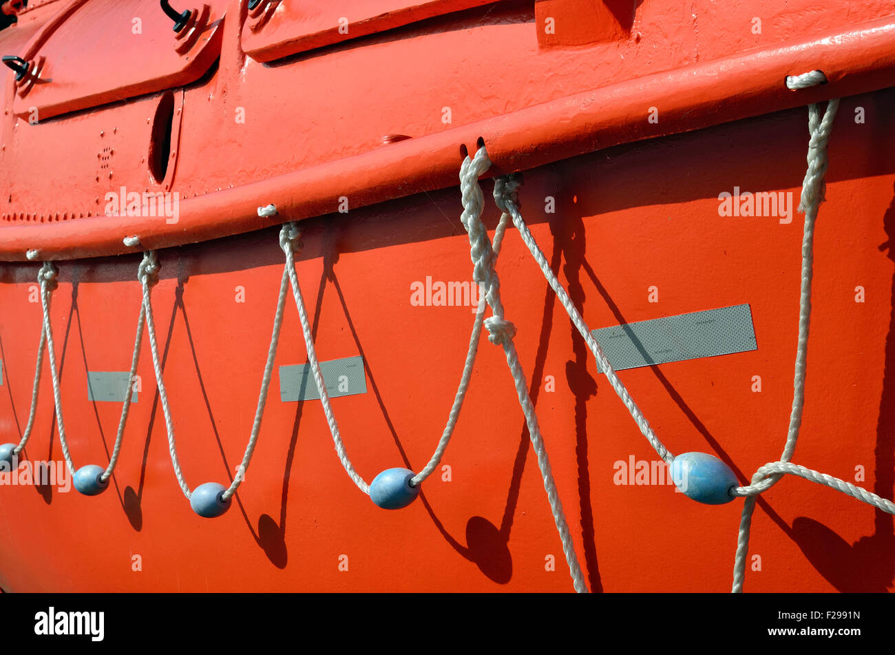 Board the lifeboat with a Leer and floats - Stock Image