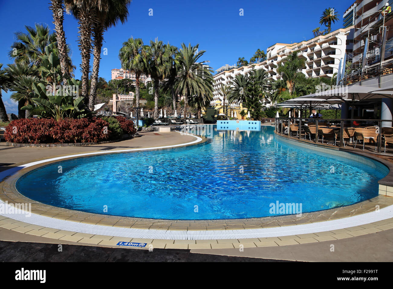 Swimming Pool, Royal Savoy Hotel, Funchal, Madeira, Portugal - Stock Image