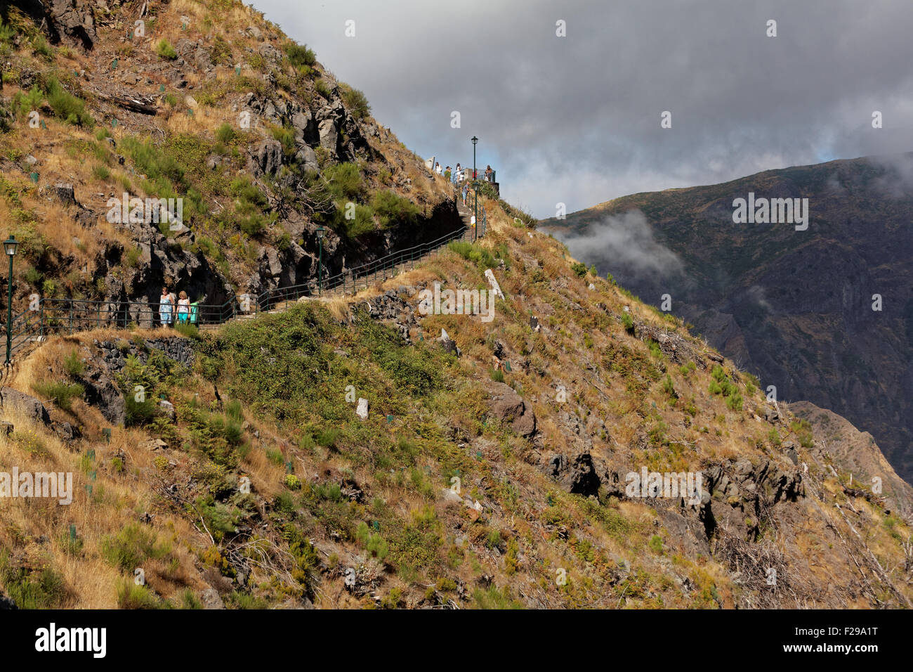 Tourists at the viewpoint at Eira do Serrado, Madeira, Portugal - Stock Image