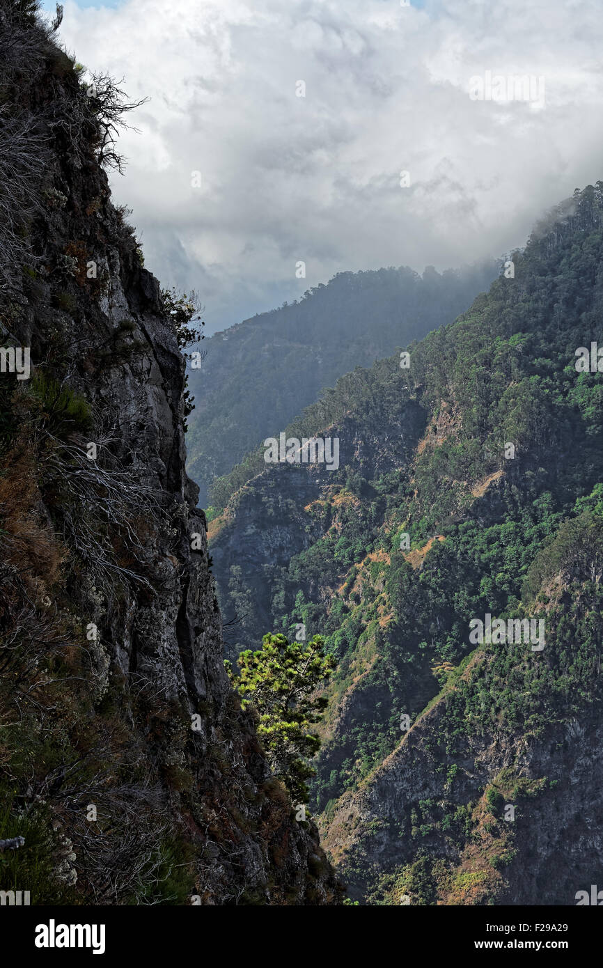 A mountain view from the viewpoint at Eira do Serrado, Madeira, Portugal - Stock Image