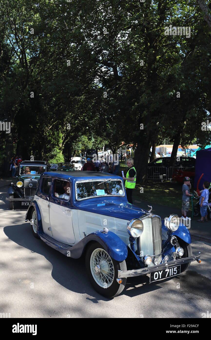 Nineteen Thirty-three Triumph Gloria at the Pontypridd Car Show in Ynysangharad War Memorial Park, August 2015 - Stock Image